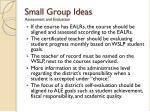 small group ideas assessment and evaluation