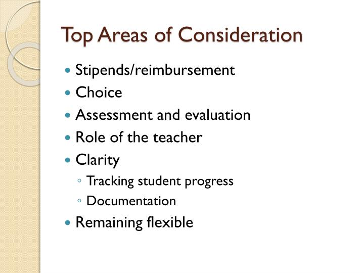 Top Areas of Consideration