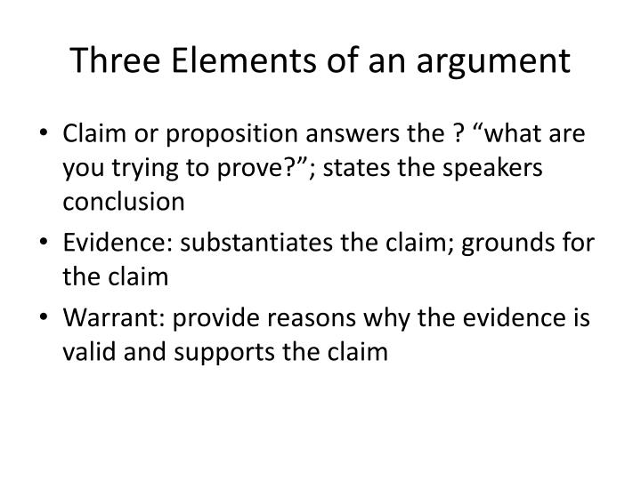 Three Elements of an argument
