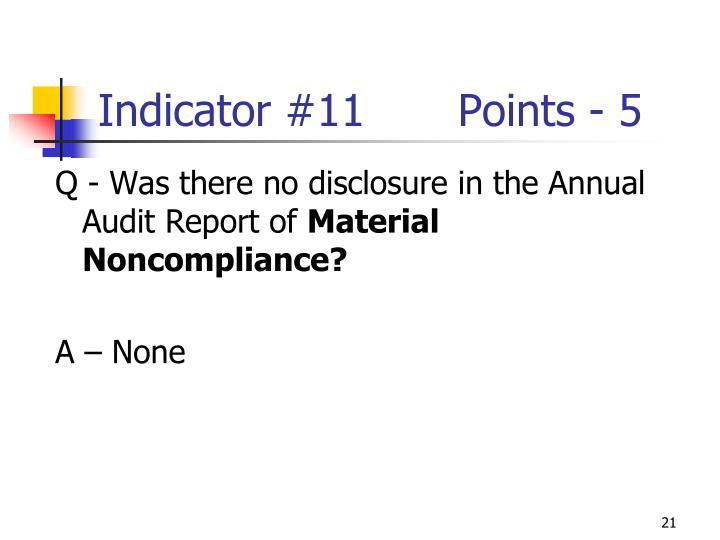 Indicator #11Points - 5