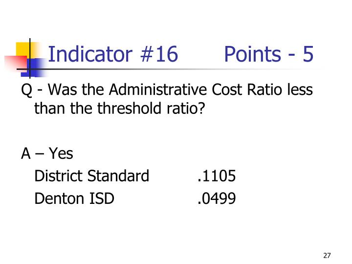 Indicator #16Points - 5