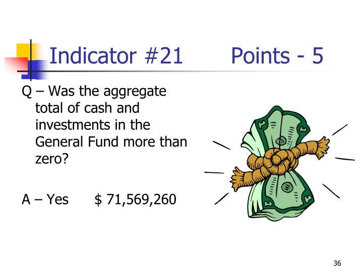 Indicator #21Points - 5