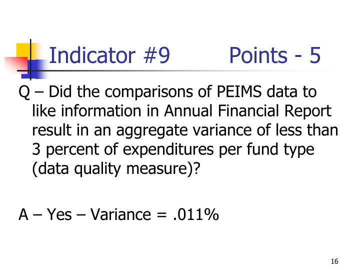 Indicator #9Points - 5