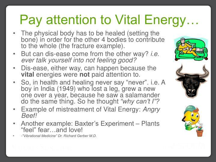 Pay attention to Vital Energy…