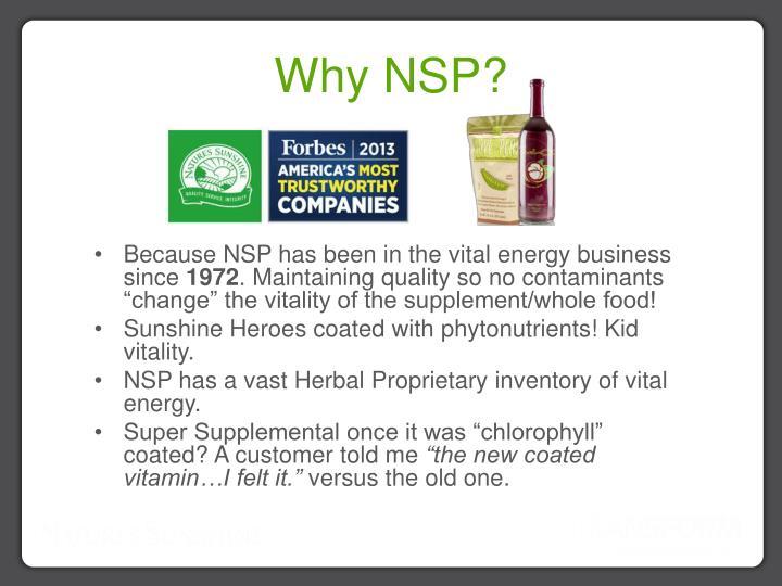 Why NSP?