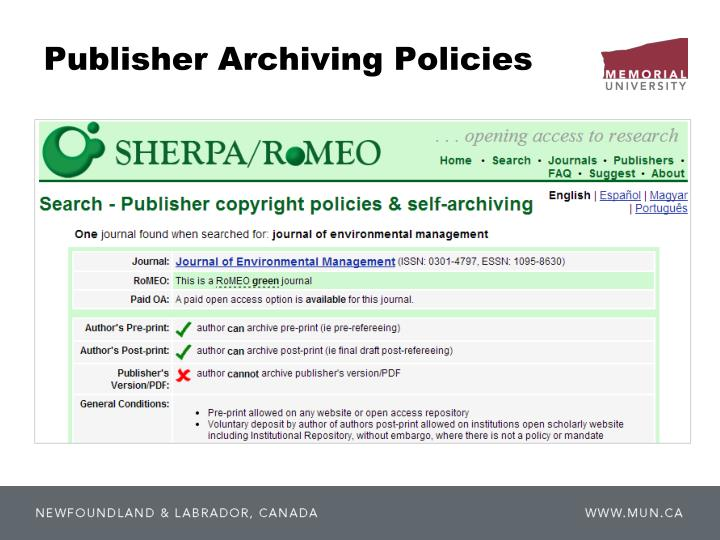 Publisher Archiving Policies