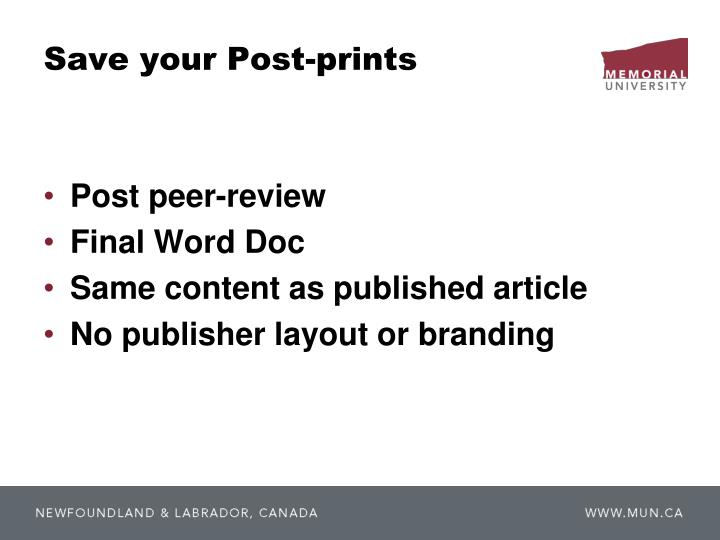 Save your Post-prints