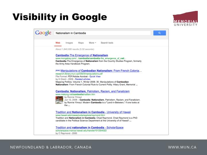 Visibility in Google