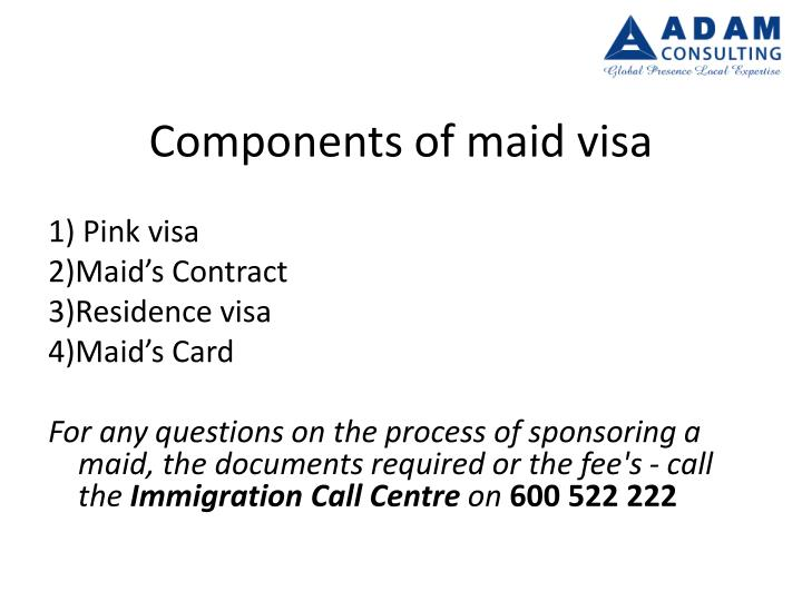 Components of maid visa