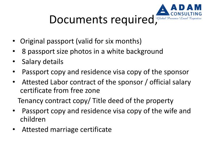 Documents required;