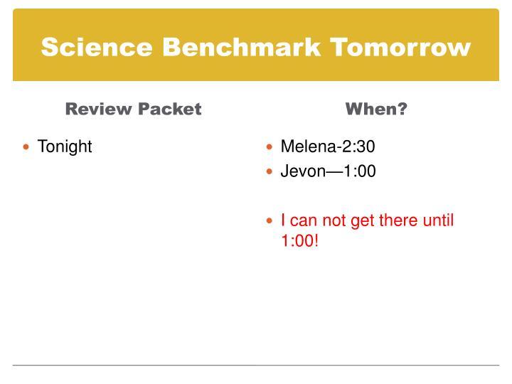 Science Benchmark Tomorrow