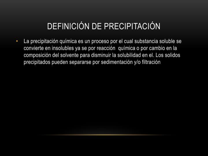 Definición de precipitación