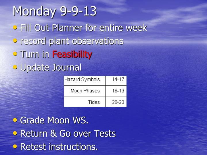 Monday 9-9-13