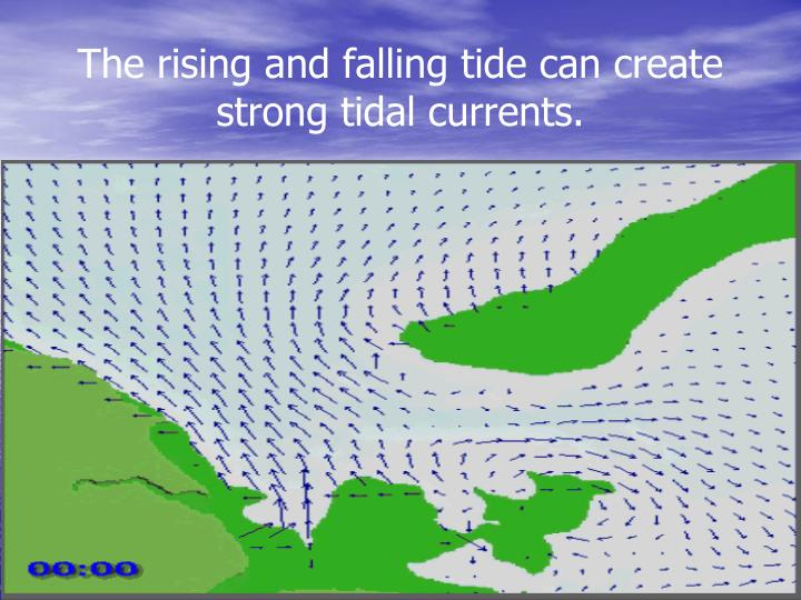 The rising and falling tide can create strong tidal currents.