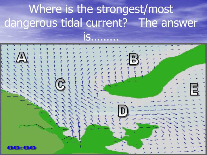 Where is the strongest/most dangerous tidal current?   The answer is………