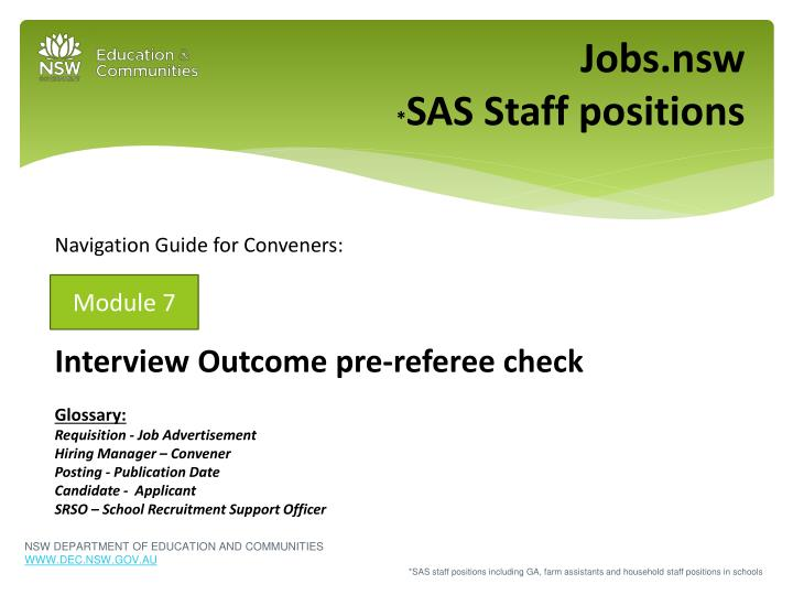 Jobs nsw sas staff positions