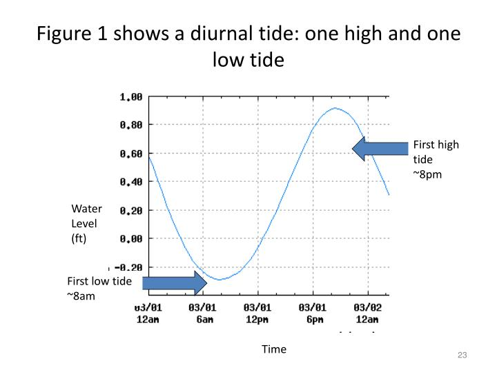 Figure 1 shows a diurnal tide: one high and one low tide