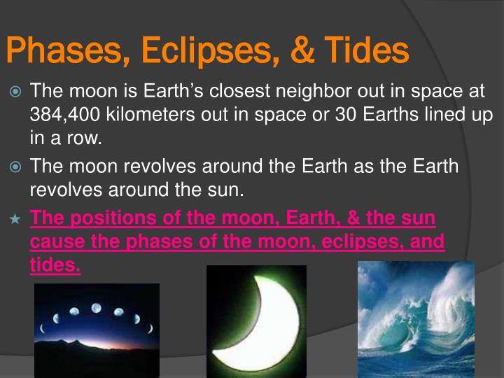 Phases eclipses tides