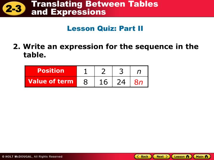 Lesson Quiz: Part II