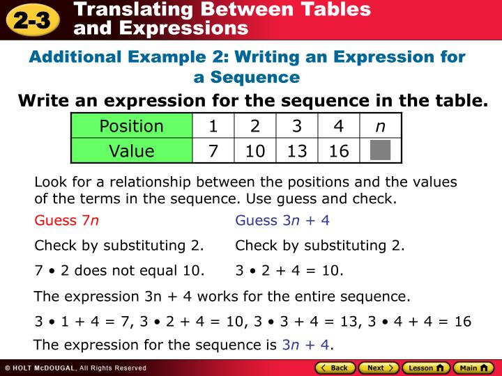 Additional Example 2: Writing an Expression for a Sequence