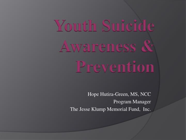 Hope hutira green ms ncc program manager the jesse klump memorial fund inc