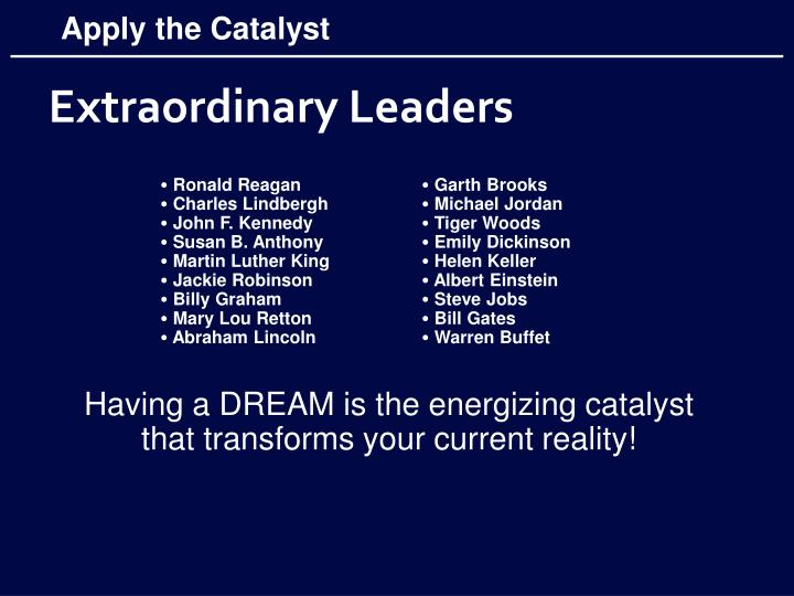 Apply the Catalyst