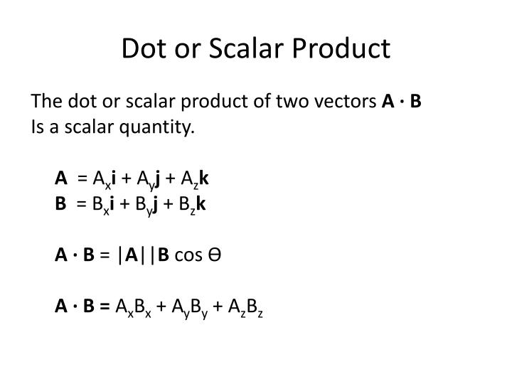 Dot or Scalar Product