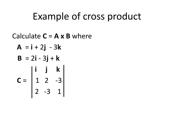 Example of cross product