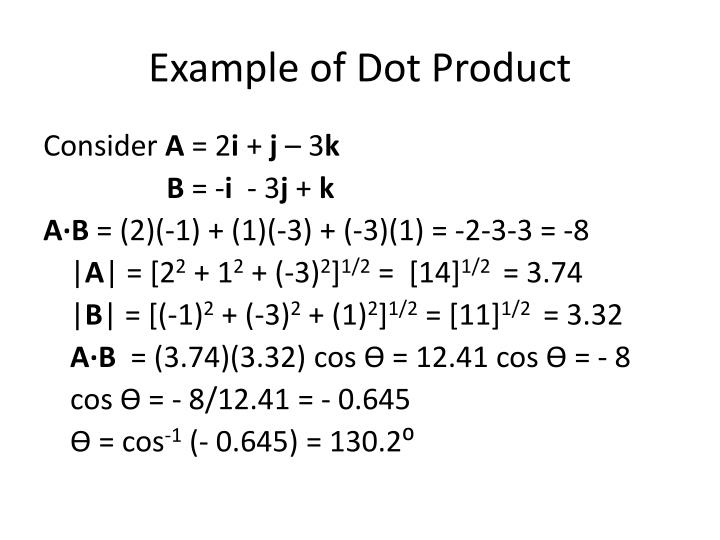 Example of Dot Product