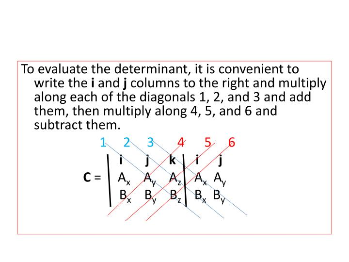To evaluate the determinant, it is convenient to write the