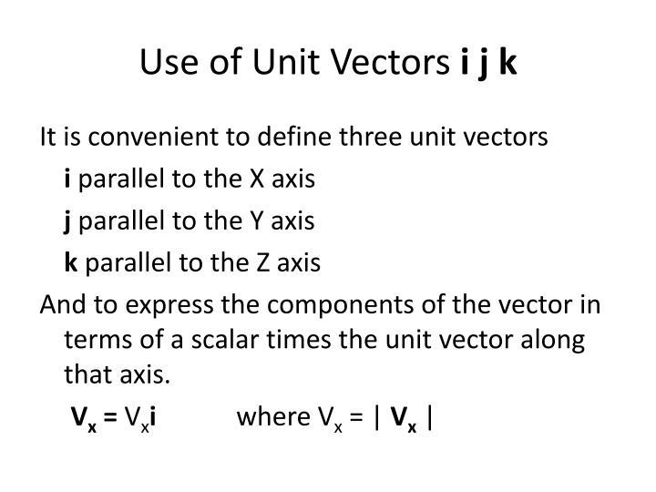 Use of Unit Vectors