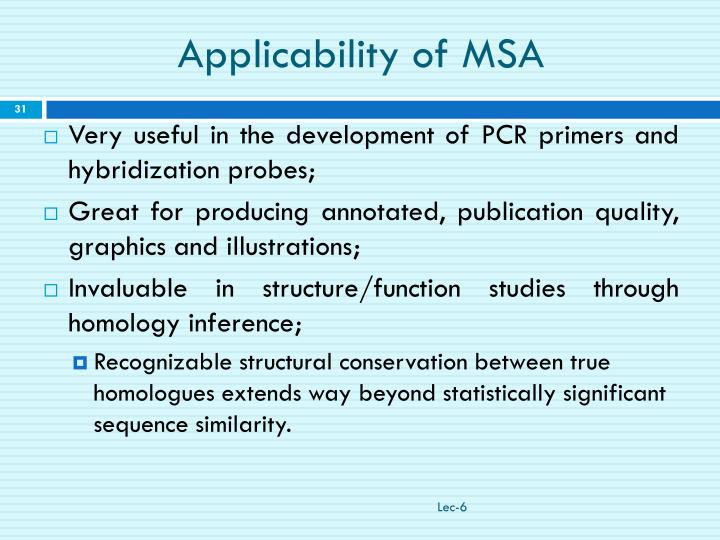 Applicability of MSA
