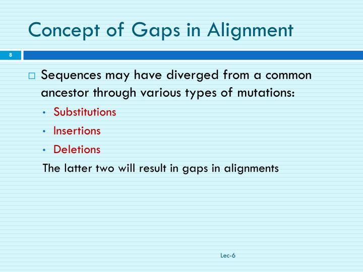 Concept of Gaps in Alignment