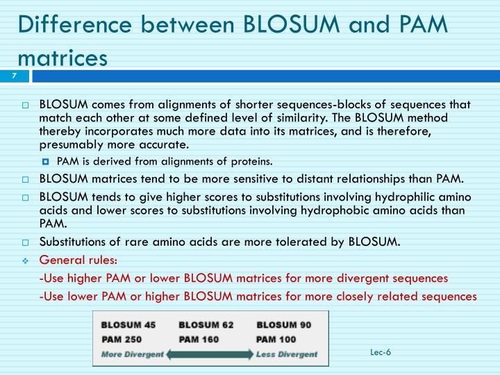 Difference between BLOSUM and PAM matrices
