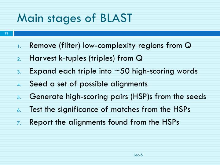 Main stages of BLAST