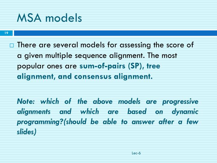 MSA models