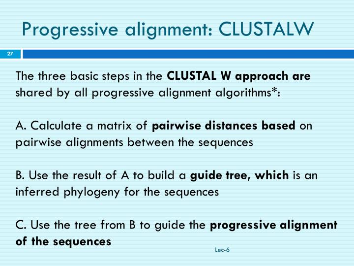 Progressive alignment: CLUSTALW