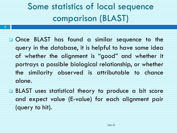 Some statistics of local sequence comparison blast