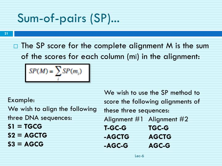 Sum-of-pairs (SP)...