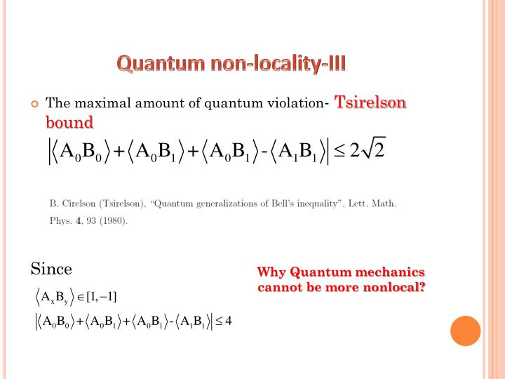 Quantum non-locality-III