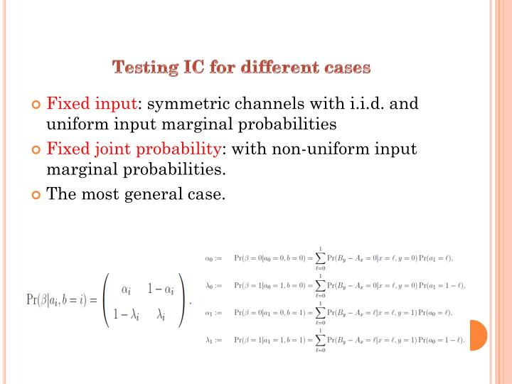 Testing IC for different