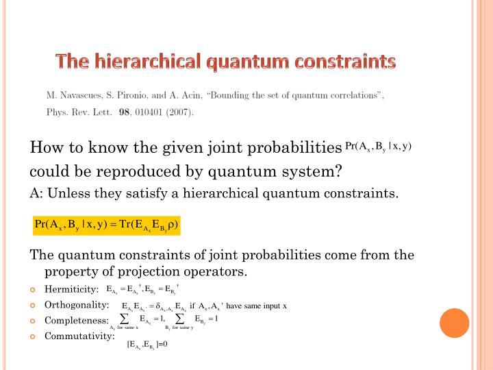 The hierarchical quantum constraints