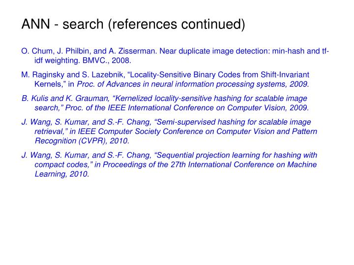 ANN - search (references continued)