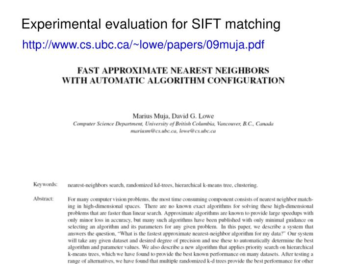 Experimental evaluation for SIFT matching