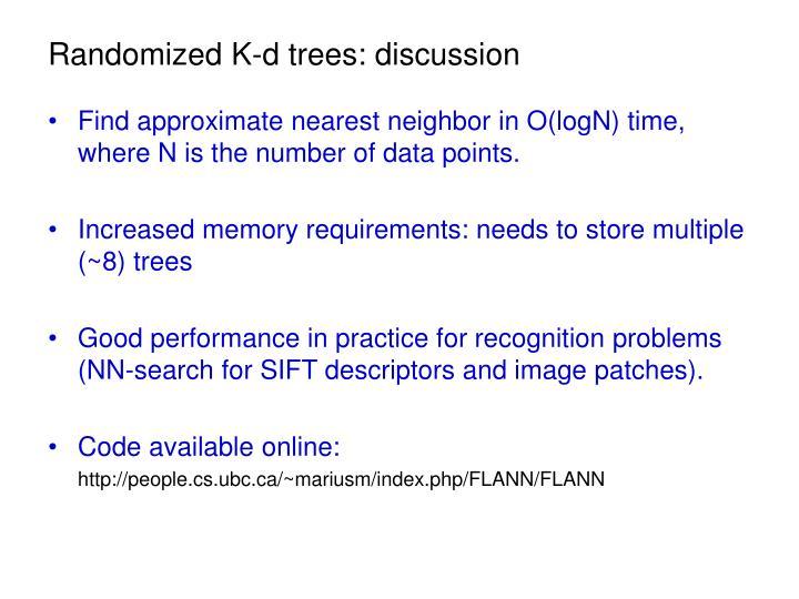 Randomized K-d trees: discussion
