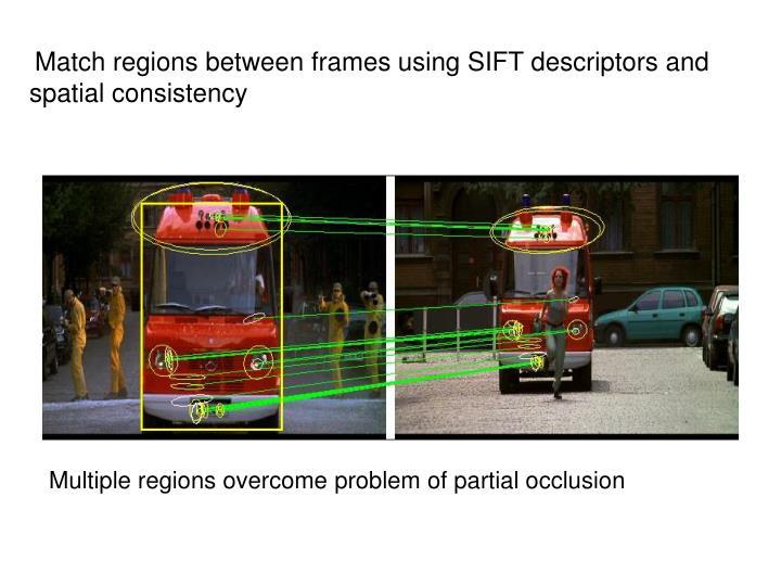 Match regions between frames using SIFT descriptors and spatial consistency