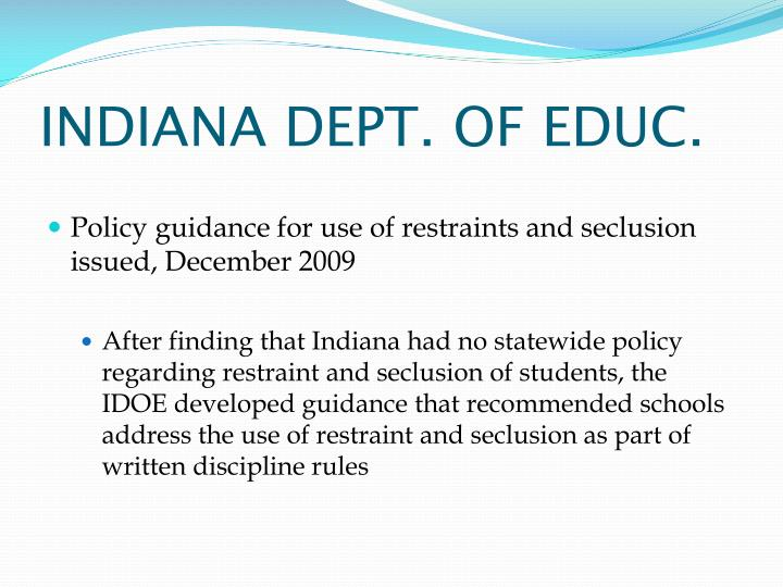 INDIANA DEPT. OF EDUC.