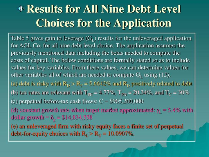 Results for All Nine Debt Level Choices for the Application