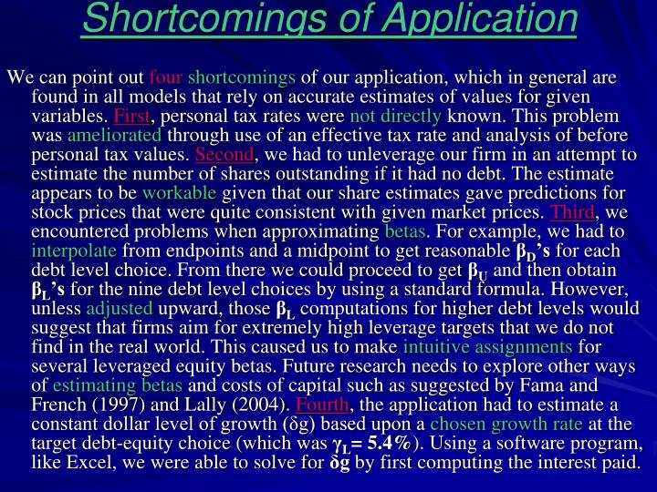 Shortcomings of Application