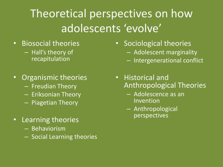 Theoretical perspectives on how adolescents 'evolve'
